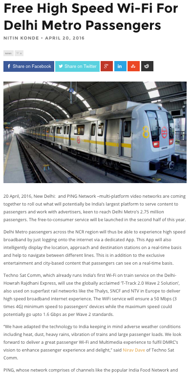 Tech Story - Free High Speed Wi-Fi For Delhi Metro Passengers