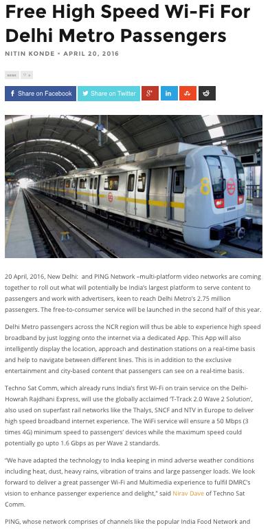 Tech Story - Free High Speed Wi-Fi For Delhi Metro Passengers